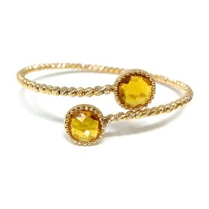 Yellow gold bracelet with lemon quartz gem.Moresque Collection.Designer Gabriela Rigamonti