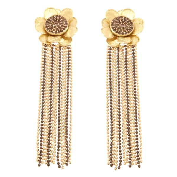 Orecchini Oro Giallo e marrone 18kt con zirconi marroni.Glitter Collection Designer Gabriela Rigamonti