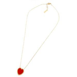 Collana cuore in oro giallo e quarzo colorato. Designer Gabriela Rigamonti